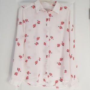 White Floral Loft Button Down Shirt